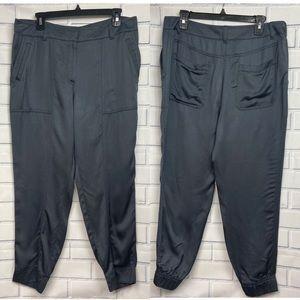 NWT LOFT Satin Like Joggers Capri Pants Size 8